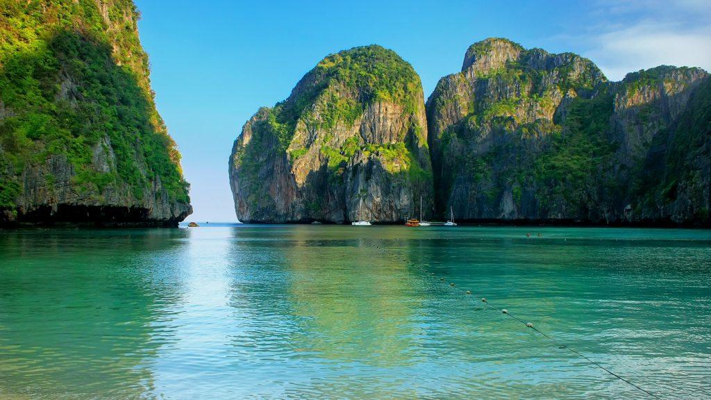 Maya Bay surrounded by limestone cliffs on Ko Phi Phi Leh Island, Krabi Province, Thailand