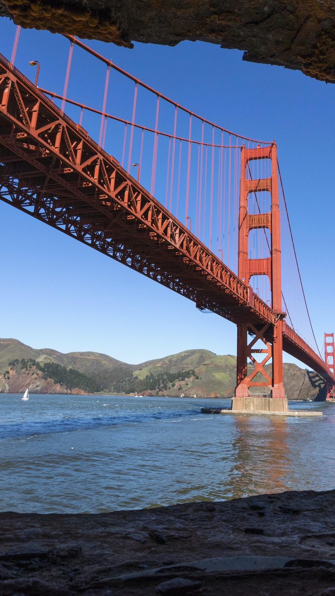 Rocks Framing Golden Gate Bridge San Francisco