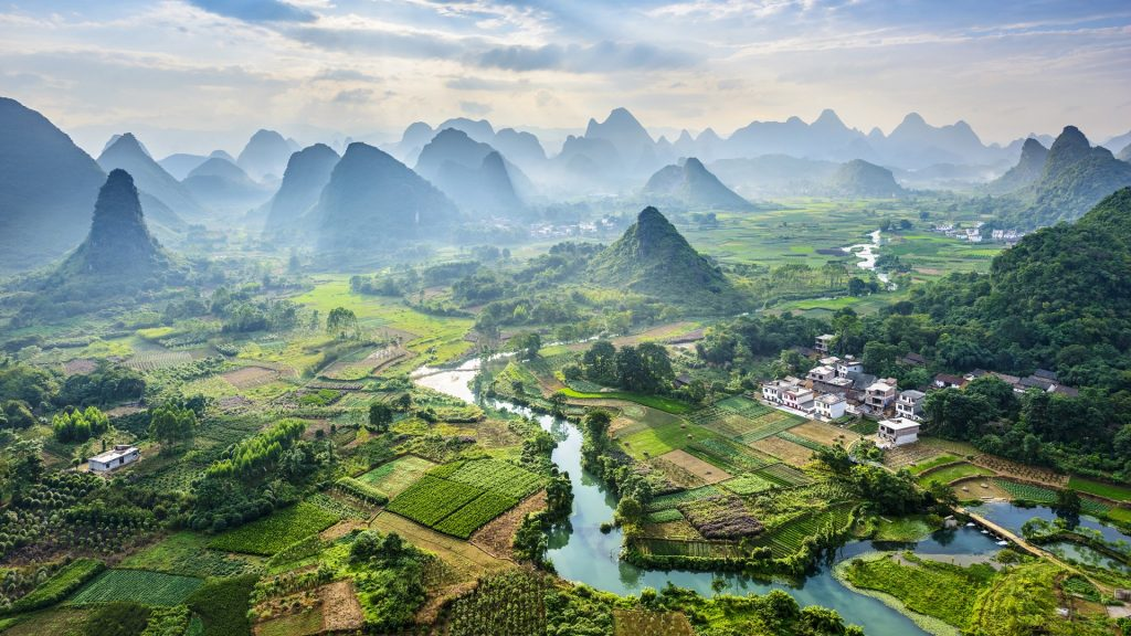 Landscape of Guilin, Li River and Karst mountains, Yangshuo, Guangxi, China