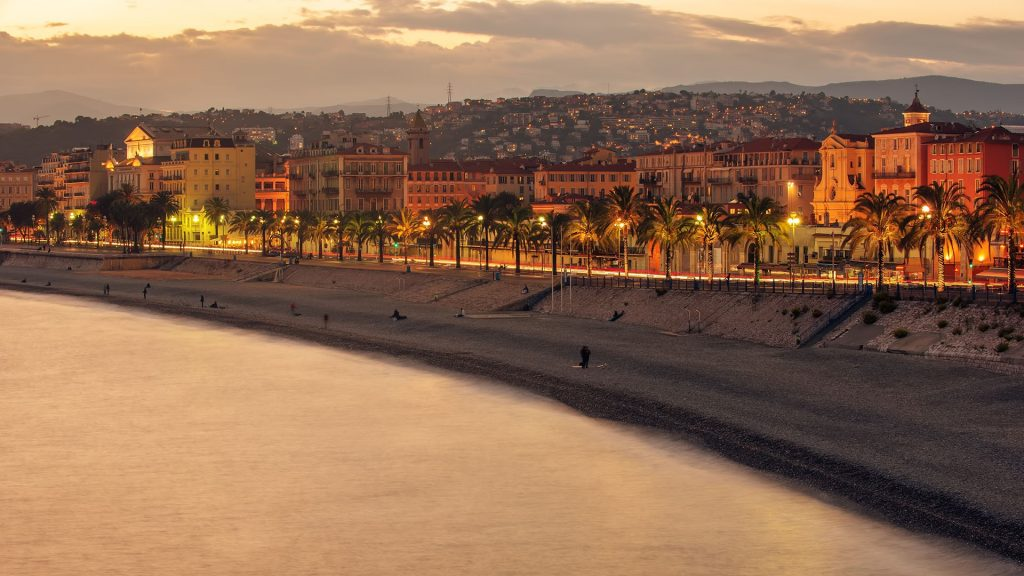 Night view of old town and Promenade des Anglais, Nice, France