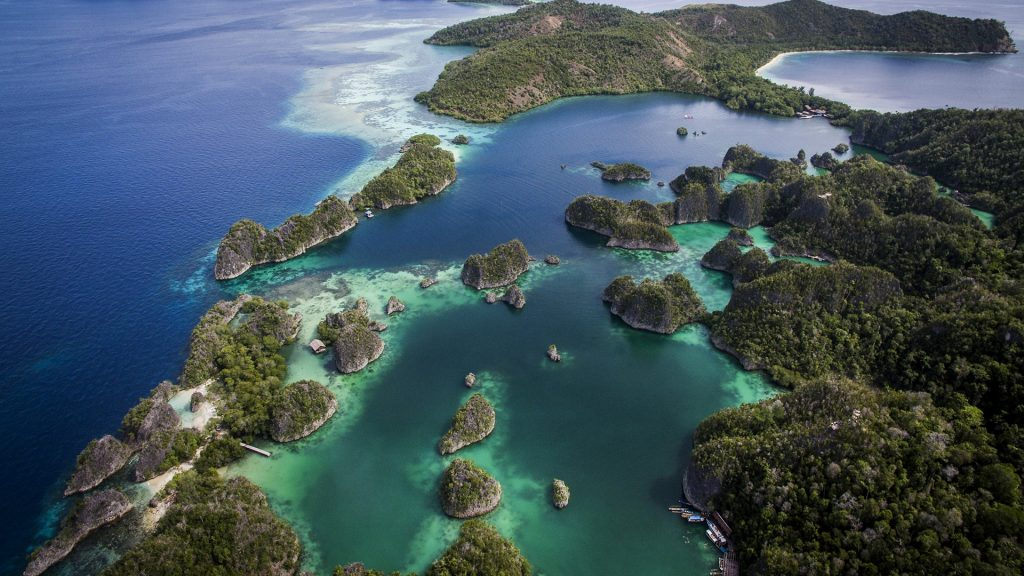 Fam Islands archipelago aerial view, West Papua, Indonesia