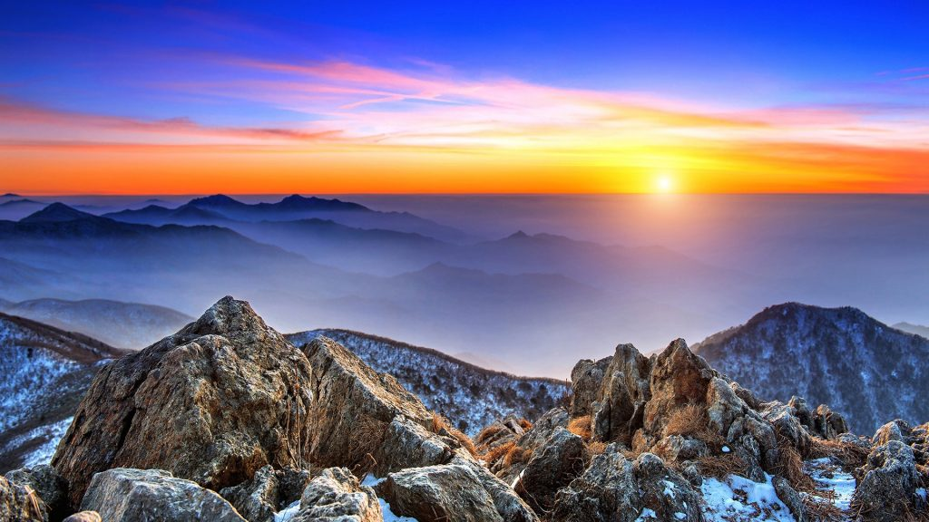 Landscape at sunset in Deogyusan National Park in winter, South Korea