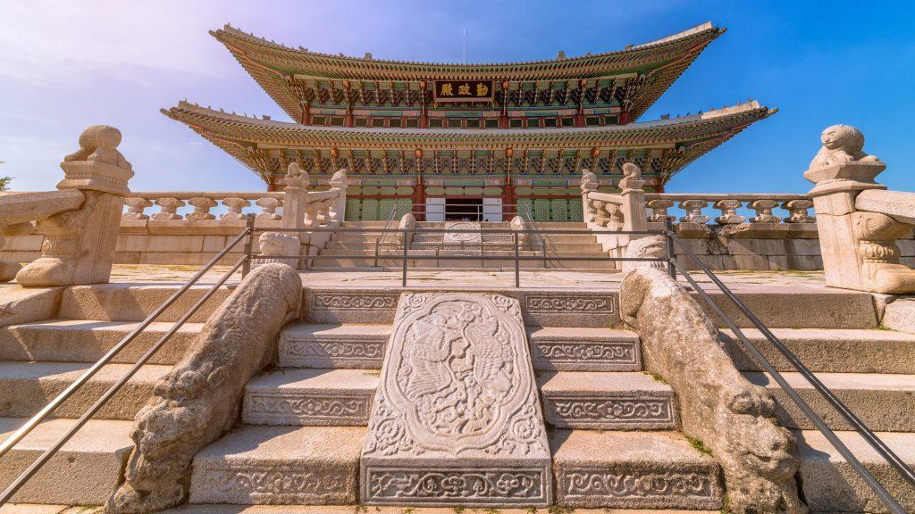 Geunjeongjeon, the main throne hall of Gyeongbokgung Palace in Seoul, South Korea