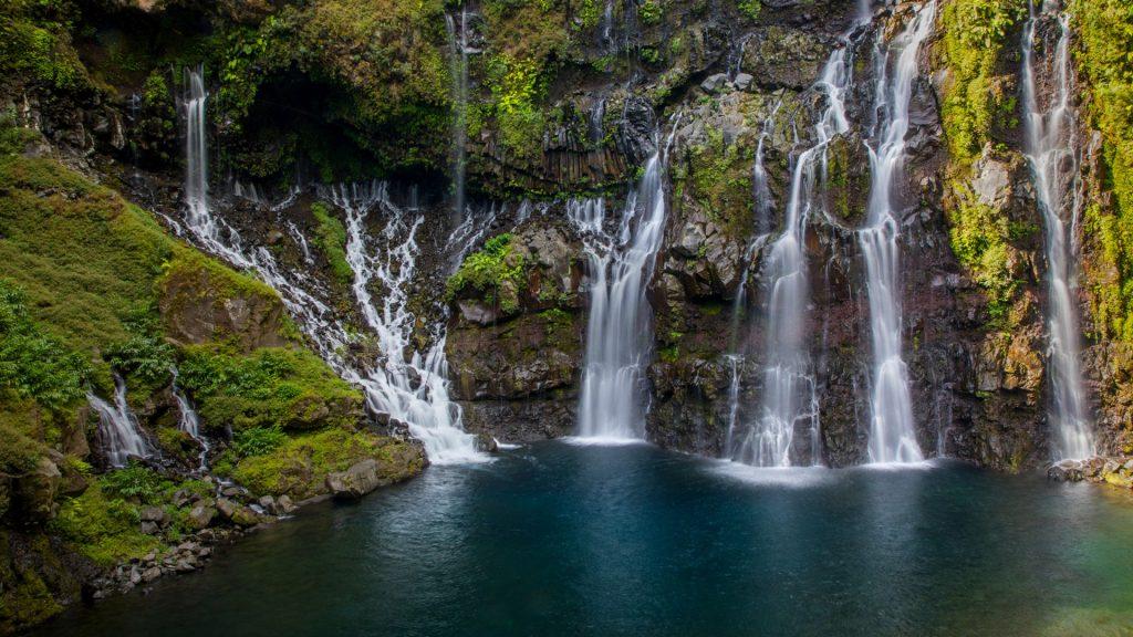 Rainforest waterfall Cascade de Grand Galet or Cascade Langevin, Réunion Island, France