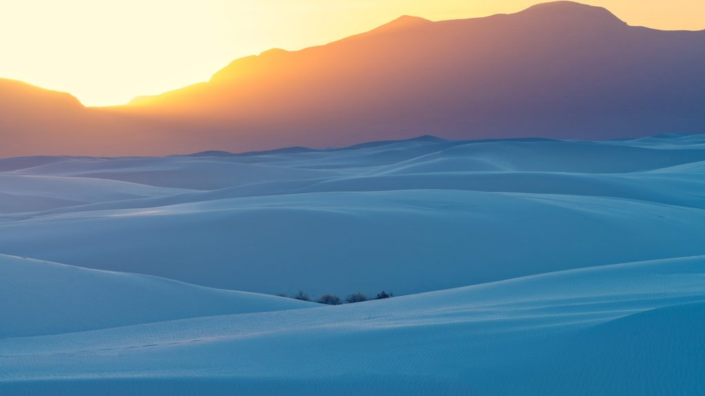 Sunset at White Sands National Monument, New Mexico, USA