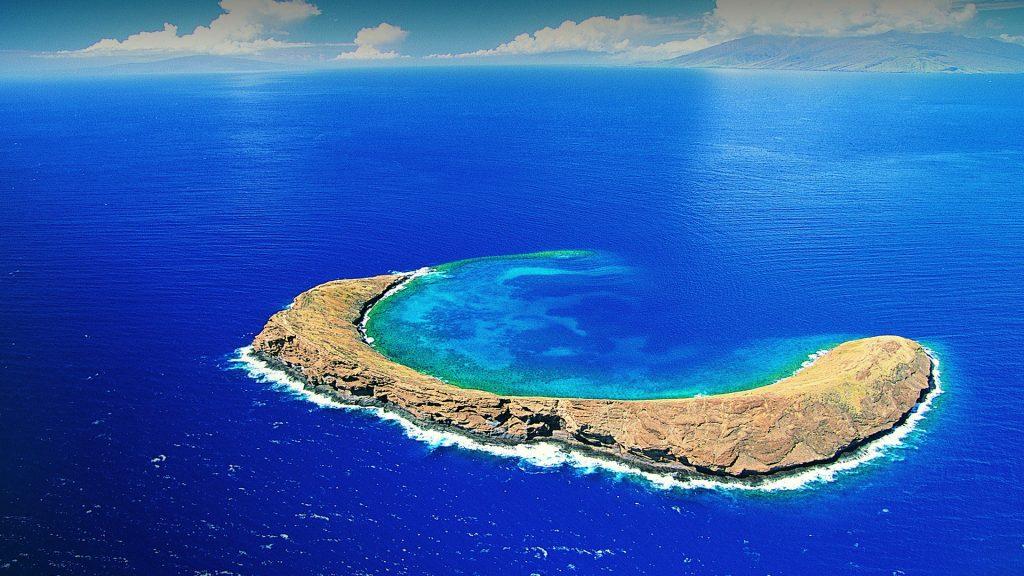 Molokini Crater aerial view, Maui, Hawaii, USA
