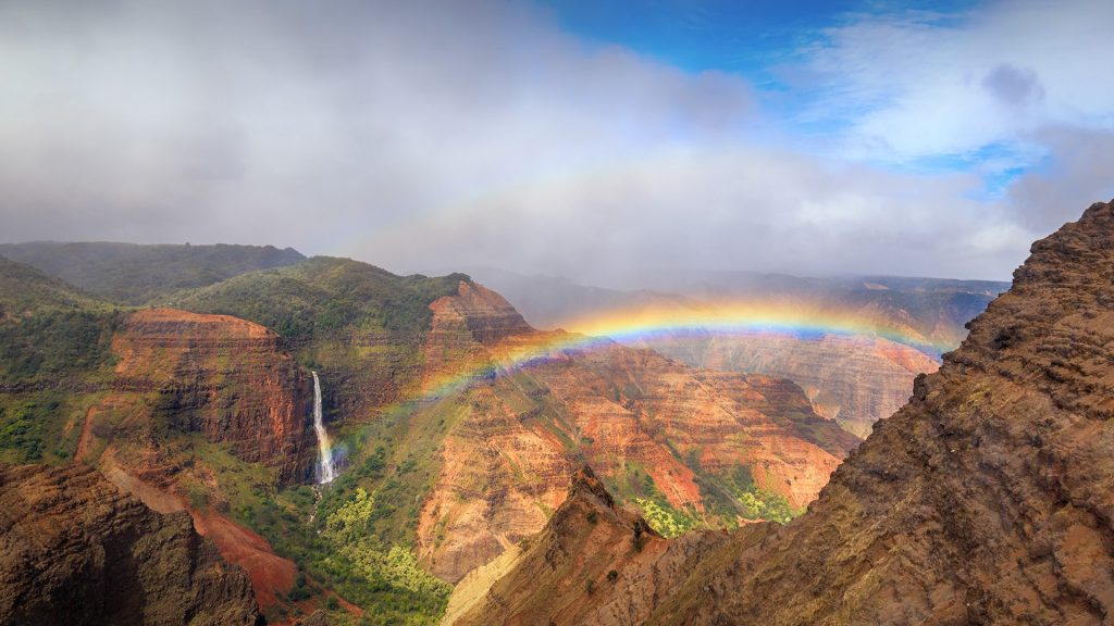 Rainbow over Waimea Canyon in Kauai, Hawaii, USA