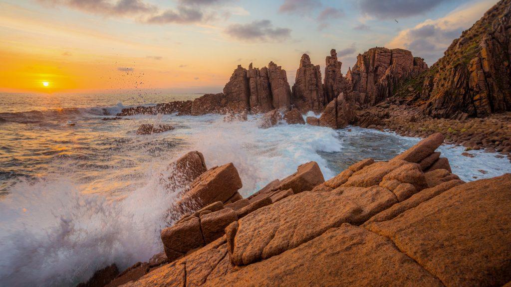 Pinnacles rock formation on Cape Woolamai at sunset, Phillip Island, Australia