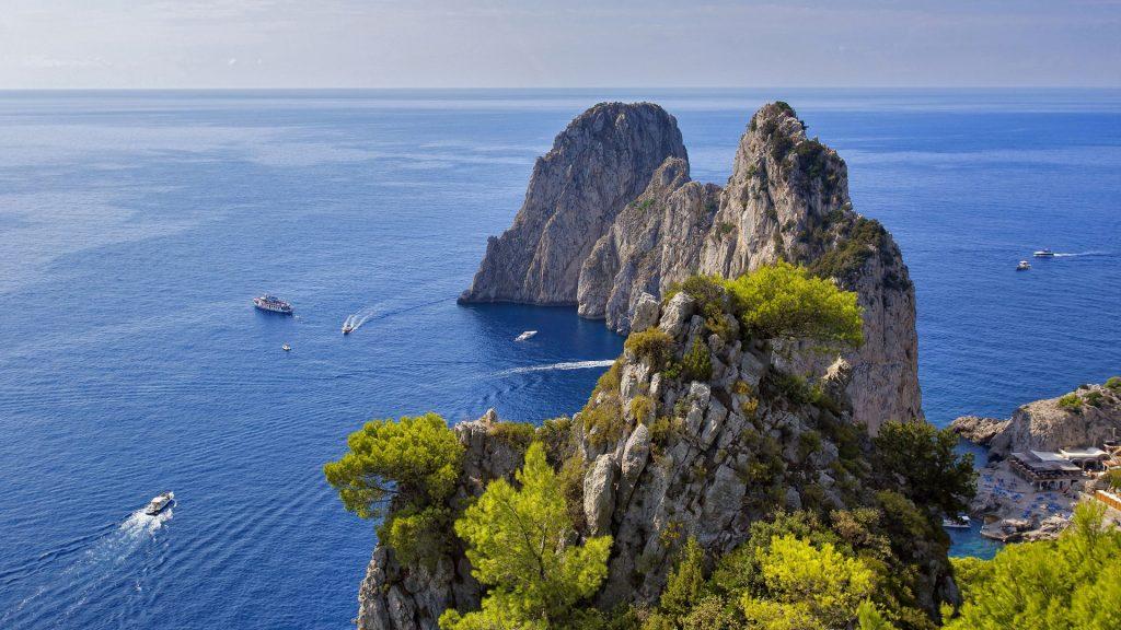 Faraglioni rocks on Capri Island, Gulf of Naples, Italy
