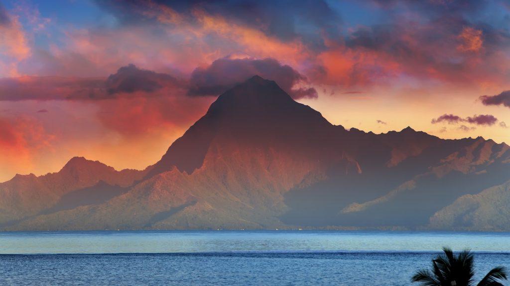Mountain Orohena at sunset, Tahiti, French Polynesia