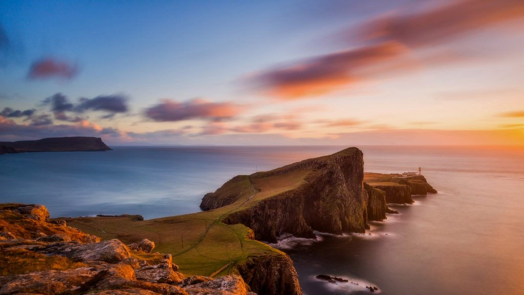 Neist Point on Isle of Skye at sunset, Scotland, UK
