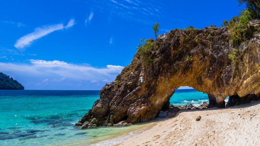 Stone arch with beautiful beach, Koh Lipe in Satun, Thailand