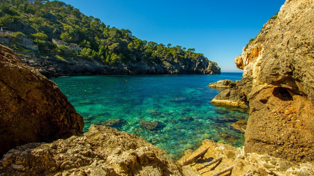 Cala Deia tropic empty beach, Palma Mallorca, Balearic Islands, Spain