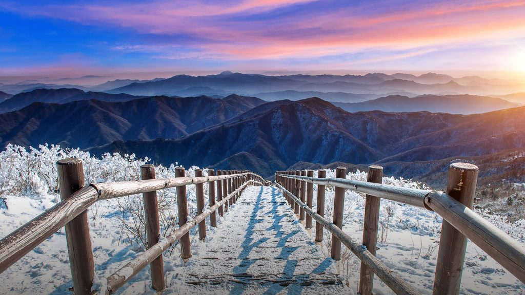 Staircase on Deogyusan mountains covered with snow in winter at sunrise, South Korea