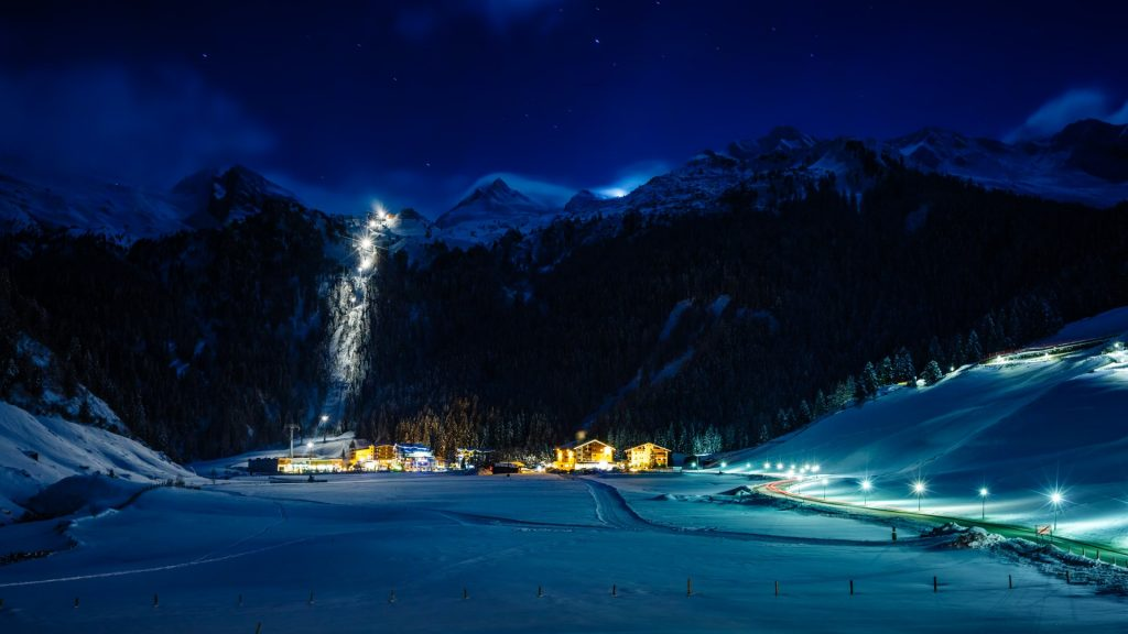 Winter ski resort Hintertux by night, Tirol, Austria