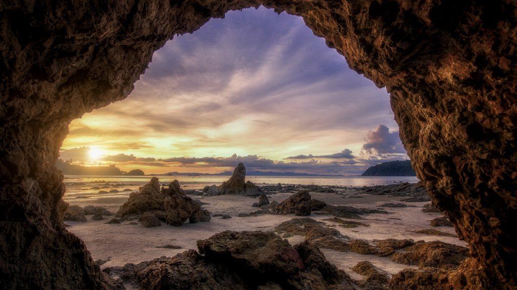 Sunset at Kao Kwai (Buffalo) Beach at Payam Island (Koh Payam), Ko Phayam, Ranong, Thailand