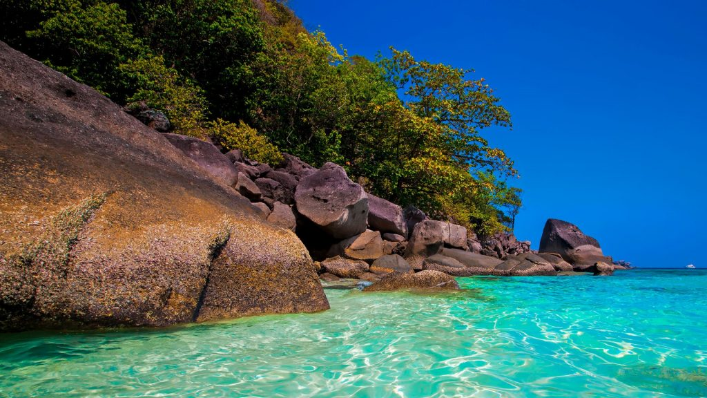 Crystal clear waters on Similan Islands in Thailand