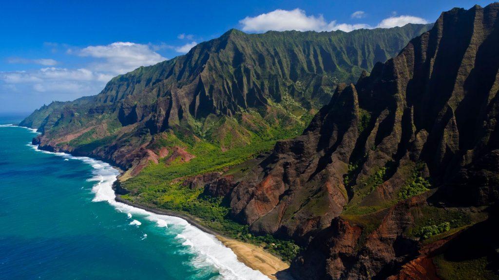 The Na Pali coast from the sky, Kauai Island, Hawaii, USA