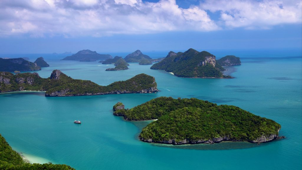 View over Mu Koh Ang Thong marine park from Koh Wua Talap, Thailand