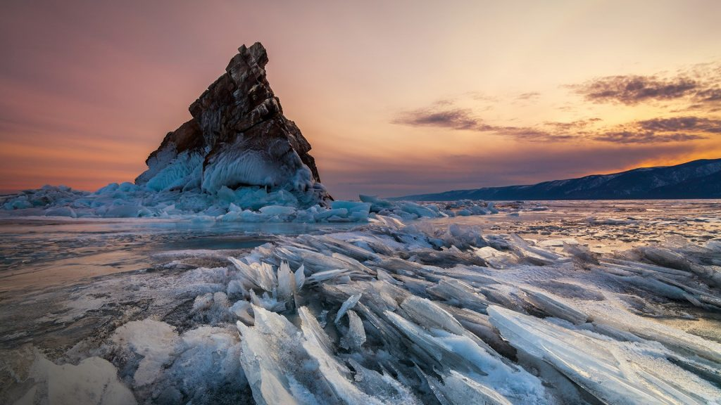 Elenka Island at sunset, Lake Baikal, Siberia, Russia
