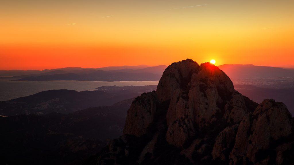 Sunrise over the mountain in the French Riviera, Saint-Raphaël, Corniche de l'Estérel, France