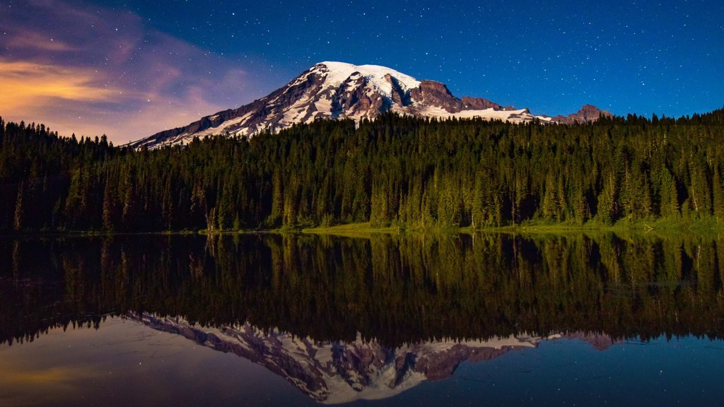 Mt Rainier with trees reflection in lake at night, Washington, USA