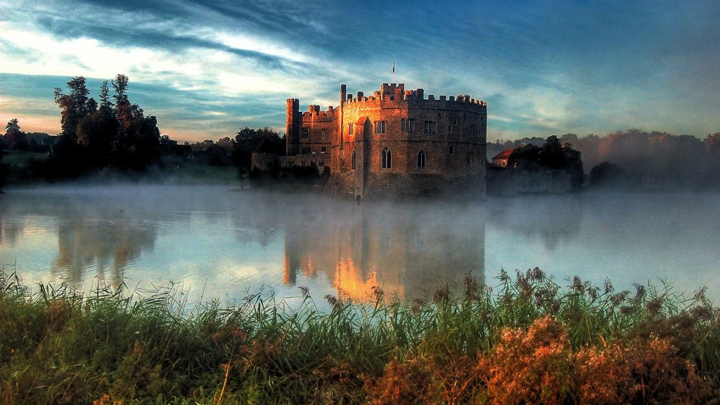 View of Leeds Castle near Maidstone at sunrise, Kent, England, UK