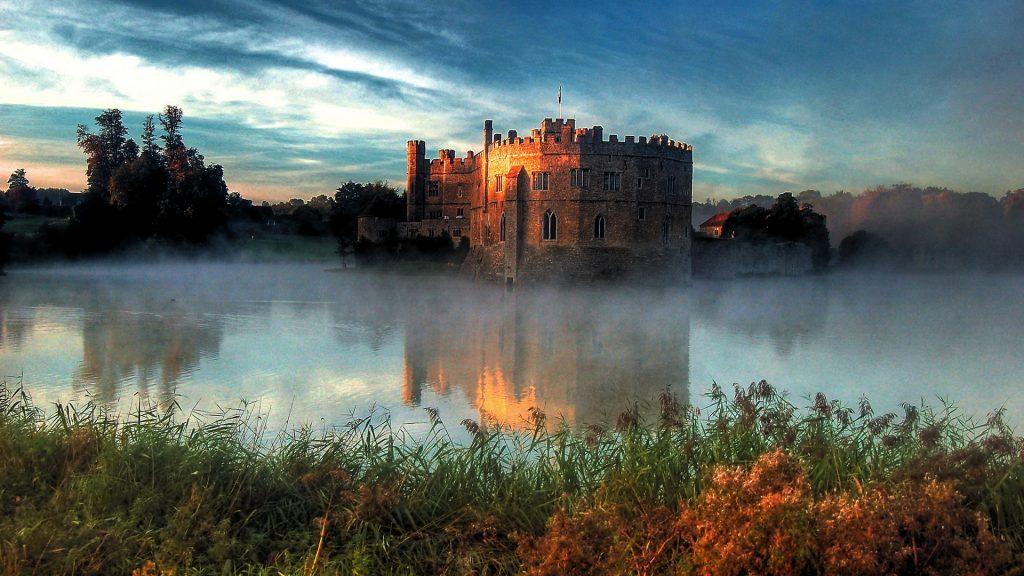 View of Leeds Castle near Maidstone at sunrise, Kent, England, UK