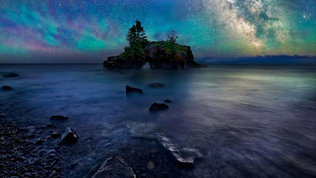 Milky Way over Hollow Rock on Lake Superior, Minnesota, USA