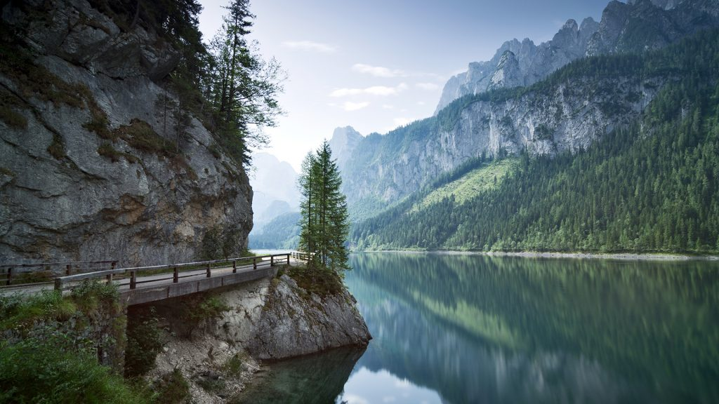 Morning light at Lake Gosau with Dachstein Mountains, Salzkammergut, Austria
