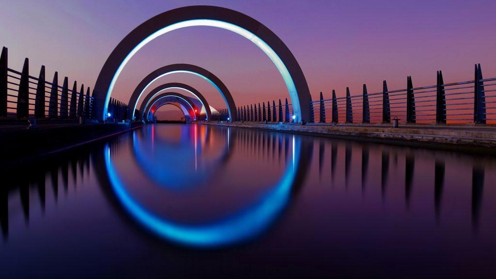 Night hypnosis, Falkirk wheel, Stirlingshire, Scotland, UK
