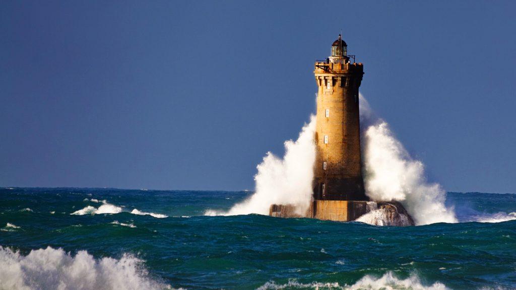 Le phare du four lighthouse in Tremazan, Brittany, France