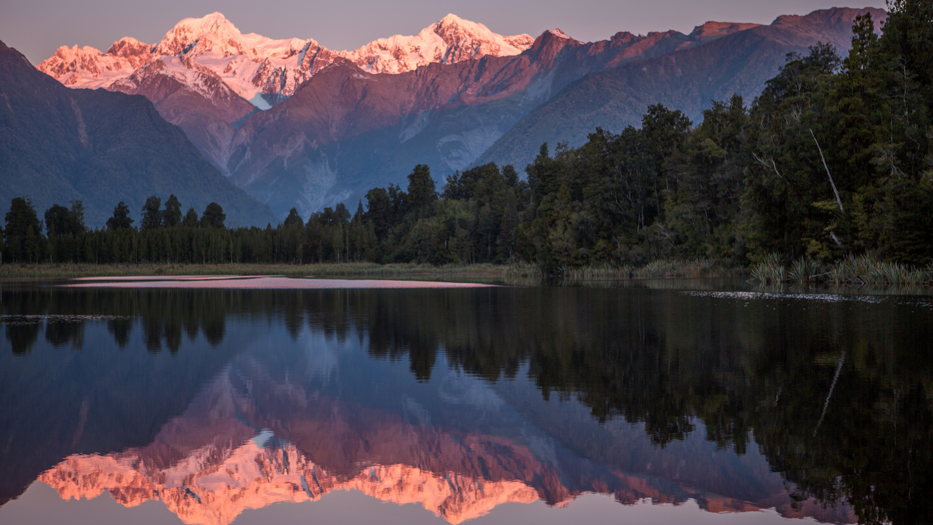 Snowcapped Mountains Cook And Fox Reflected In Lake Matheson