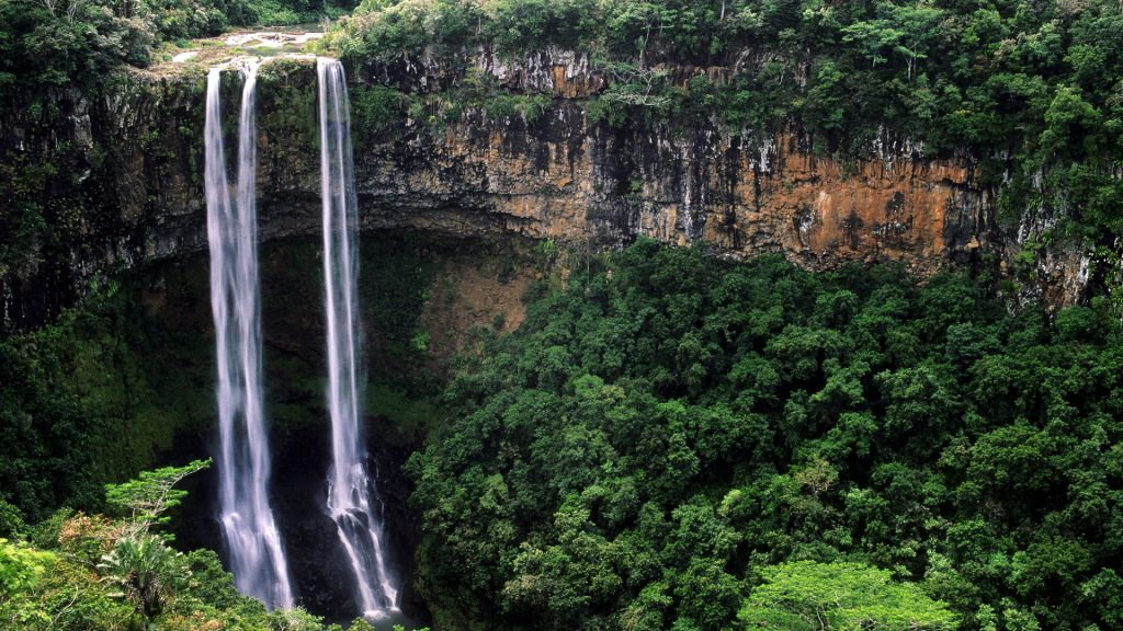 Chamarel waterfalls on Mauritius