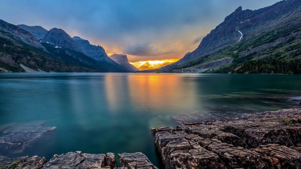 Sunset at Saint Mary Lake, Glacier national park, Montana, USA