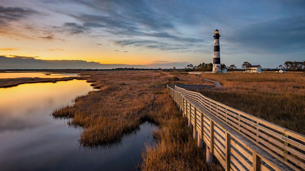 Bodie Island lighthouse along North Carolina Outer Banks just before dawn, USA