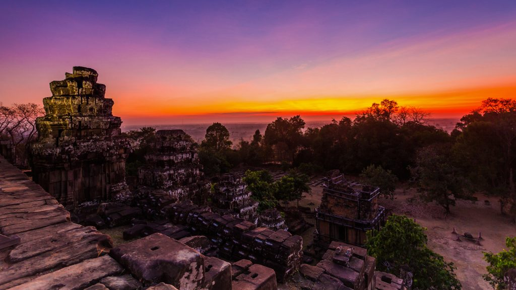 Sunset at Phnom Bakheng in Angkor Wat, Cambodia