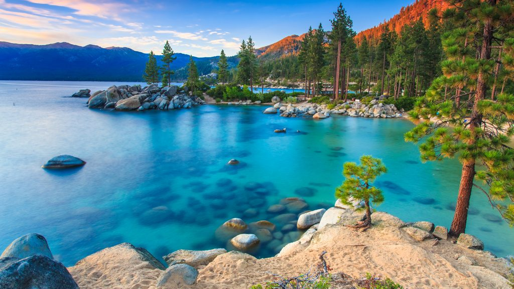 Sand Harbor, Lake Tahoe at sunset, Nevada, USA