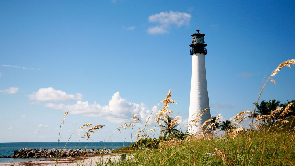 Bill Baggs State Park Lighthouse on beach, Miami, Florida, USA