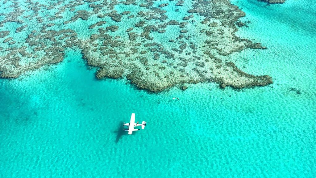 Aerial view of an aircraft at the Great Barrier Reef, Australia