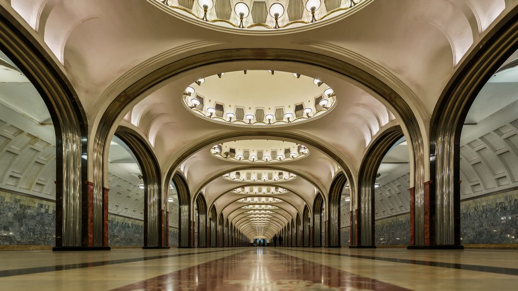 Mayakovskaya Moscow Metro Station, Russia