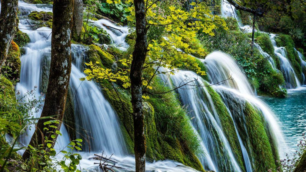 Waterfall in Plitvice Lakes National Park, Crotatia