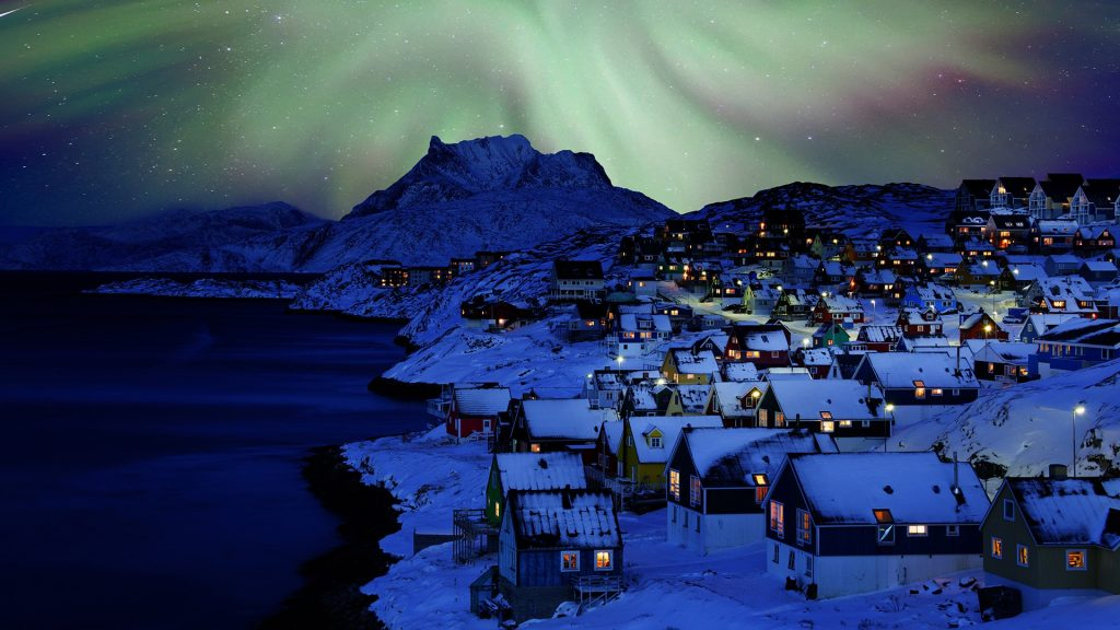 Nuuk Old Town Northern Light, Greenland