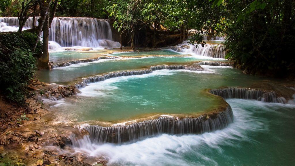 Waterfall in forest Tat Kuang Si Falls, Luang Prabang, Laos