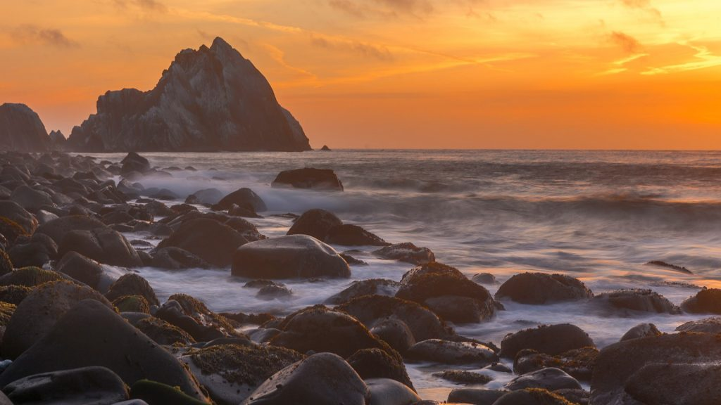 Point San Pedro beach with rock in Pacifica near San Francisco, California, USA
