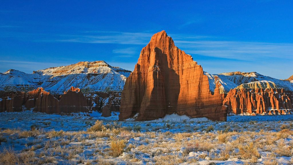 Temple of the Moon in the Cathedral Valley District of Capitol Reef National Park, Utah, USA