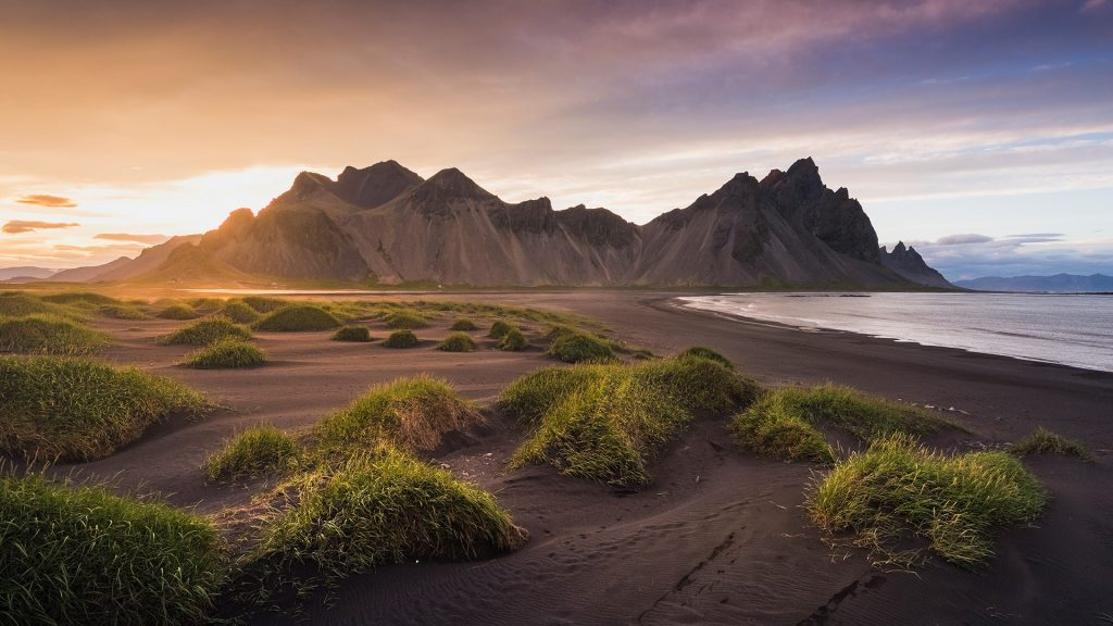 Vestrahorn mountain at Vesturhorn in summer evening, Stokksnes, Iceland