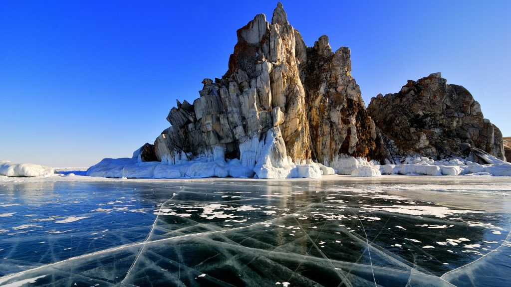 Surface of frozen lake Baikal winter view, Russia
