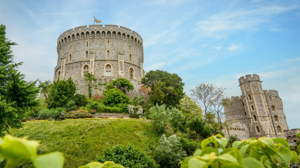 Round Tower surrounded by Moat garden, Windsor Castle, Berkshire, England, UK