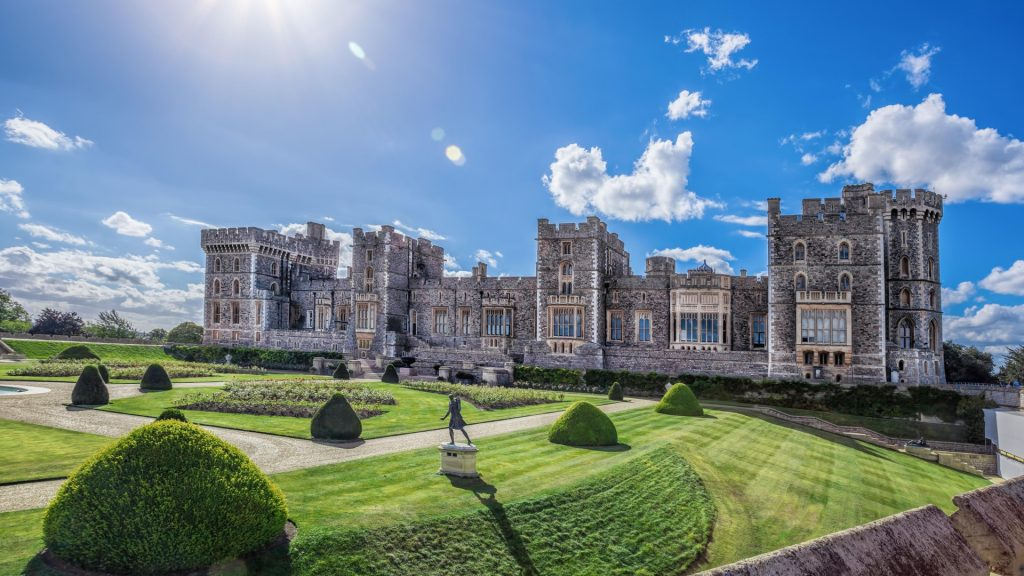 Windsor castle with garden near London, England, UK
